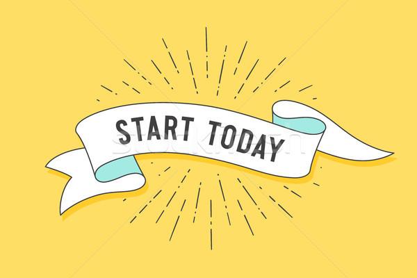 Başlatmak bugün bağbozumu şerit afiş çizim Stok fotoğraf © FoxysGraphic