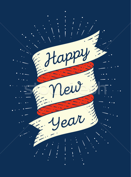 Happy new year. Ribbon banner in engraving style Stock photo © FoxysGraphic
