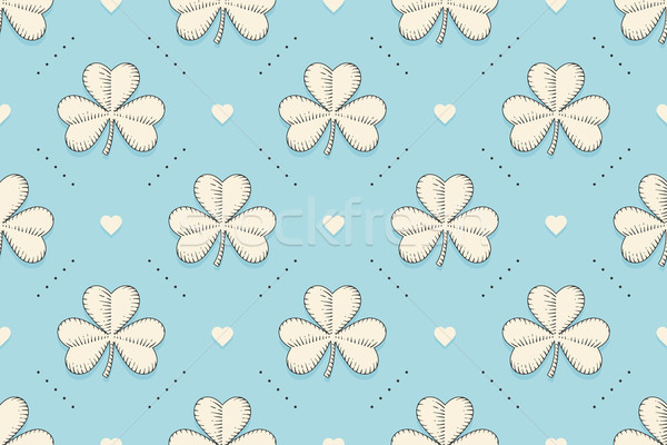Seamless irish green pattern with clover and heart Stock photo © FoxysGraphic