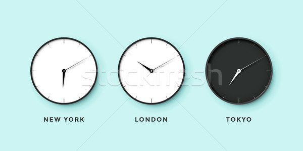 Set of day and night clock for time zones different cities. Black and white watch on a mint backgrou Stock photo © FoxysGraphic
