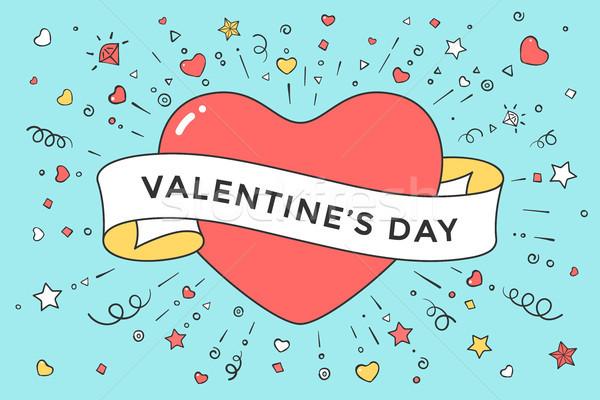 古い リボン メッセージ バレンタイン 日 赤 ストックフォト © FoxysGraphic