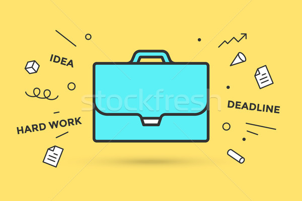 Ikona teczki podpisania żółty wybuchowy graficzne Zdjęcia stock © FoxysGraphic
