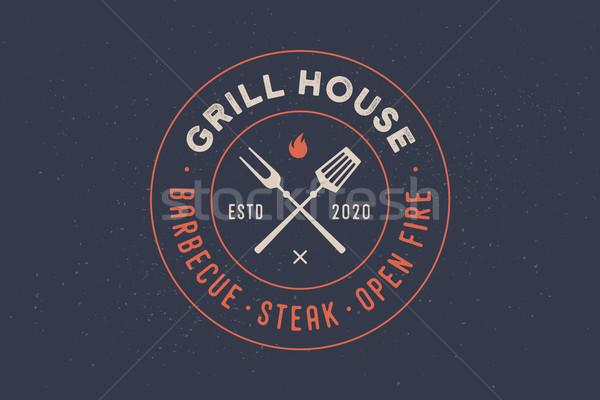 Logo grill huis restaurant vork tekst Stockfoto © FoxysGraphic