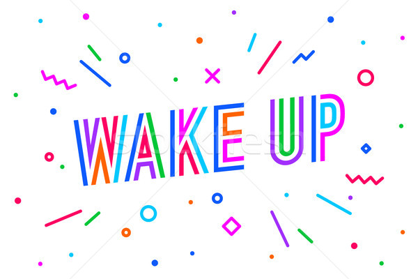 Wake Up. Banner, speech bubble Stock photo © FoxysGraphic