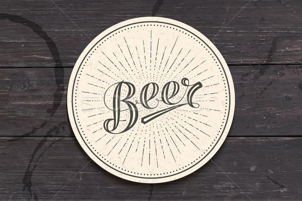 Koster bira tek renkli bağbozumu çizim Stok fotoğraf © FoxysGraphic