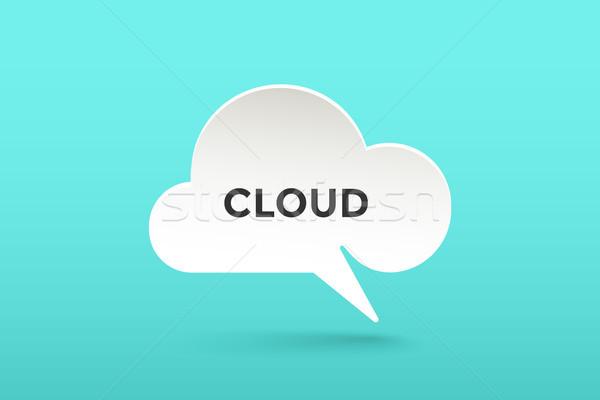 Ikon beyaz kâğıt bulut konuşmak metin Stok fotoğraf © FoxysGraphic