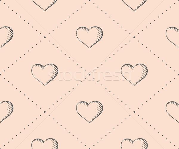 Végtelen minta szív klasszikus stílus vésés bézs Stock fotó © FoxysGraphic