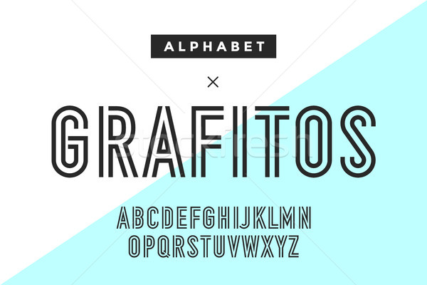 Line condensed alphabet and font Stock photo © FoxysGraphic