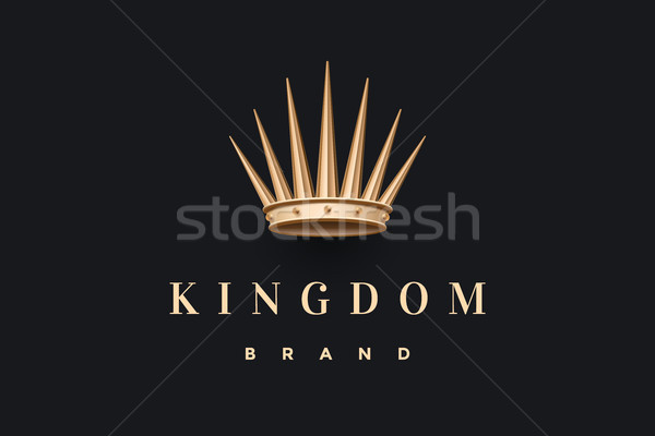 Logo goud koning kroon opschrift koninkrijk Stockfoto © FoxysGraphic