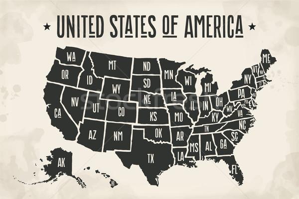 Affiche carte États-Unis Amérique blanc noir imprimer Photo stock © FoxysGraphic