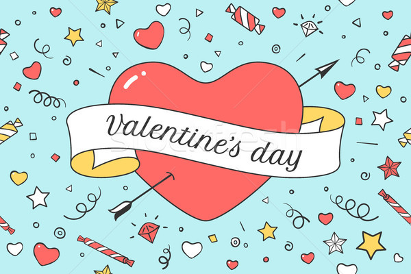 Oude lint bericht Valentijn dag Rood Stockfoto © FoxysGraphic
