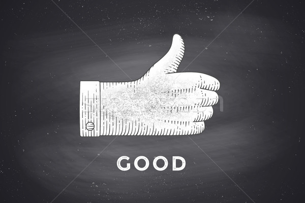 Drawing of hand sign with thumbs up in engraving style Stock photo © FoxysGraphic