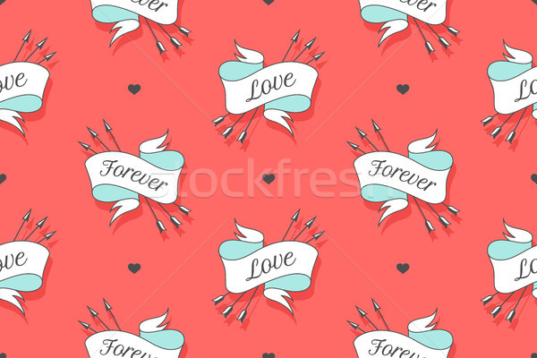 Harten pijlen turkoois achtergrond woorden Stockfoto © FoxysGraphic