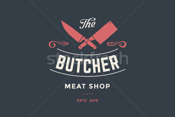 Emblem of Butcher meat shop with Cleaver and Chefs knives Stock photo © FoxysGraphic