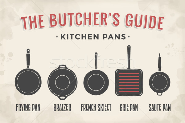 Set of kitchen pans. Poster Kitchenware - Pans, grill, pot Stock photo © FoxysGraphic