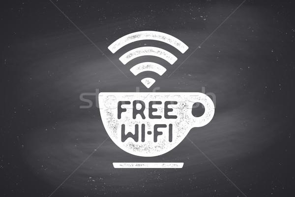 Poster beker koffie tekst gratis wifi Stockfoto © FoxysGraphic