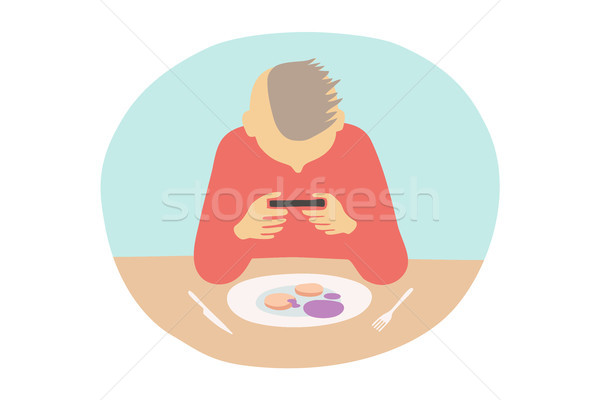 Man take photo of sweet dessert in cafe with smartphone Stock photo © FoxysGraphic