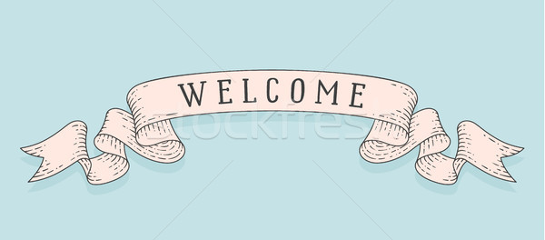 Welcome, old school vintage ribbon flag Stock photo © FoxysGraphic