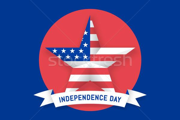 Csillag amerikai zászló USA felirat nap ikon Stock fotó © FoxysGraphic