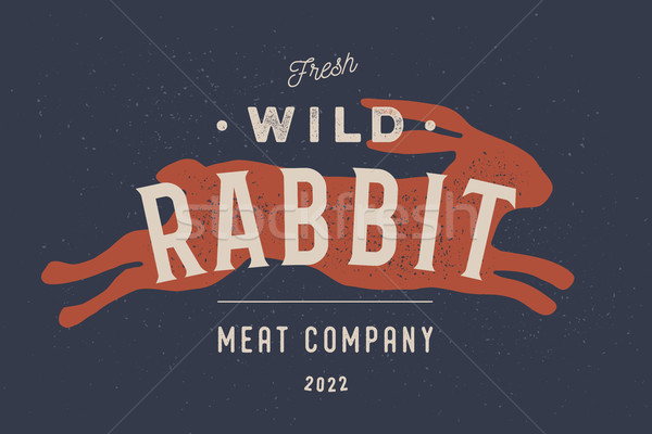 Rabbit. Vintage logo, retro print, poster for Butchery Stock photo © FoxysGraphic
