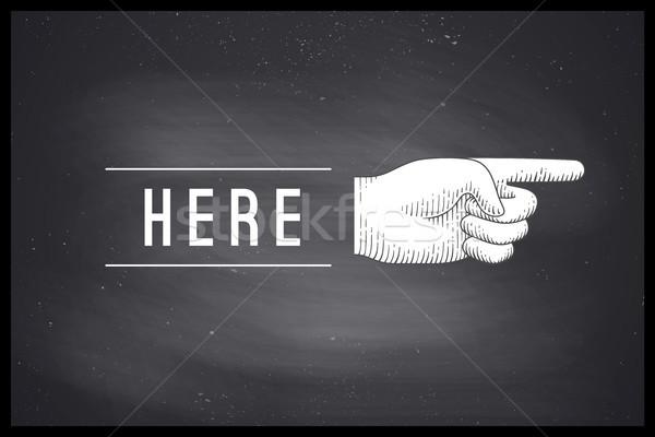 Zeichnung Handzeichen Hinweis Finger Gravur Stil Stock foto © FoxysGraphic