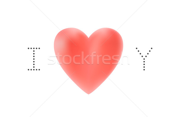 Message I love you. Red heart Valentine Day on a white background for greeting card. Vector illustra Stock photo © FoxysGraphic