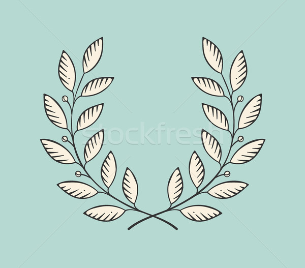 Set of old vintage object in engraving style. Laurel wreath icon isolated on a turquoise background. Stock photo © FoxysGraphic