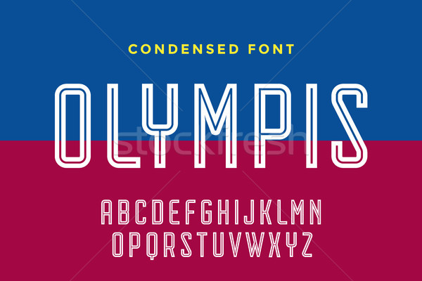 Stock photo: Line condensed alphabet and font. Condensed thin uppercase outline letters