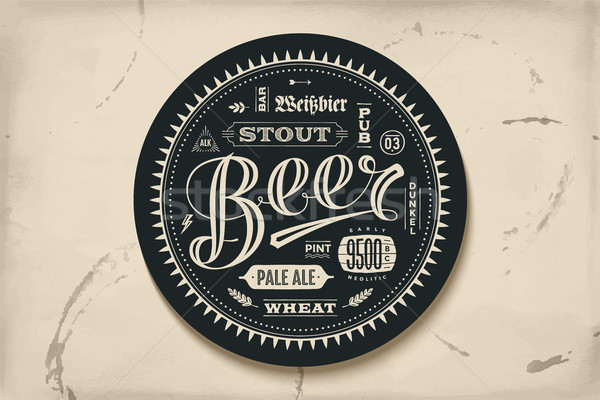 Stock photo: Coaster for beer with hand drawn lettering