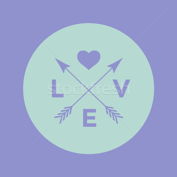 Stock photo: Logo badge for creative design project. Hipster emblem with arrow, heart and word Love on a turquois