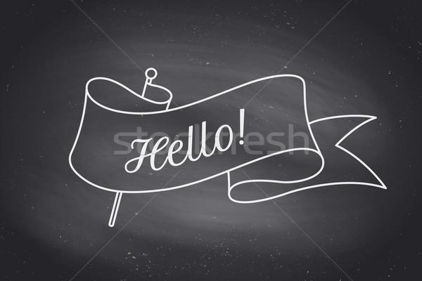 Felicitare panglică cuvant Alo trendy cretă Imagine de stoc © FoxysGraphic