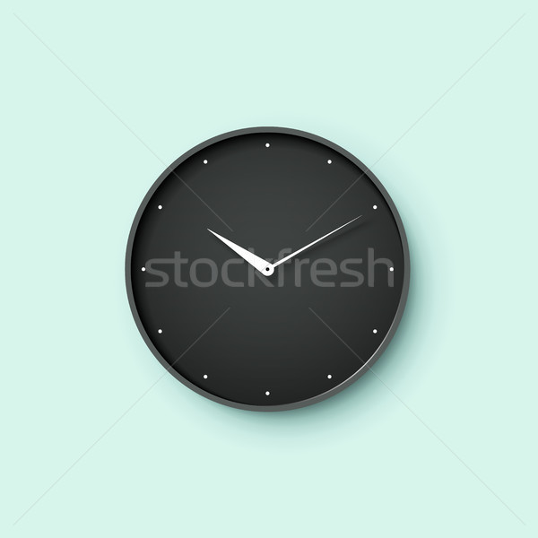 Icon of black clock face with shadow on mint wall background Stock photo © FoxysGraphic