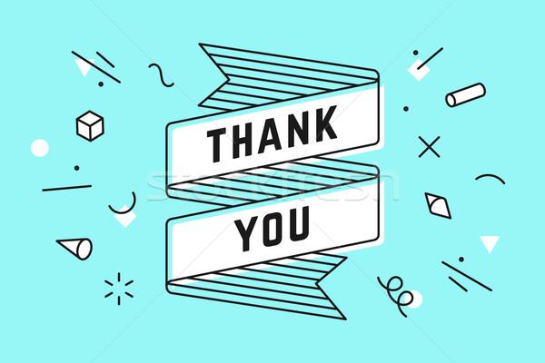 ありがとう ヴィンテージ リボン バナー 図面 行 ストックフォト © FoxysGraphic