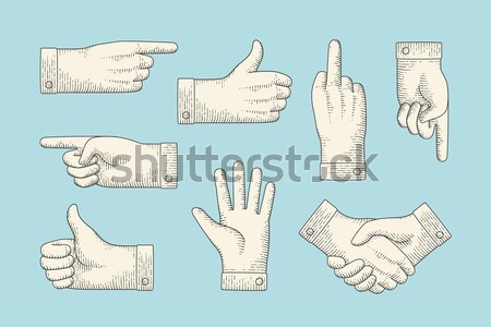Hand navigation signs.  silhouettes of different shapes Stock photo © FoxysGraphic