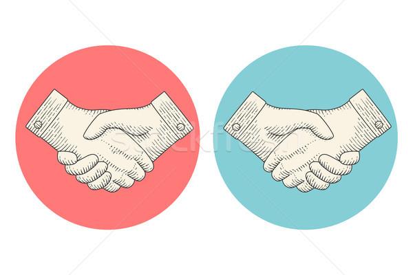 Bağbozumu çizim el sıkışma oyma stil simgeler Stok fotoğraf © FoxysGraphic