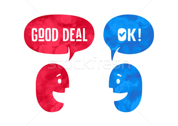 Two people with different shapes cloud talk for discount themes Stock photo © FoxysGraphic