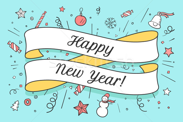 Wenskaart gelukkig nieuwjaar opschrift christmas kleurrijk Stockfoto © FoxysGraphic