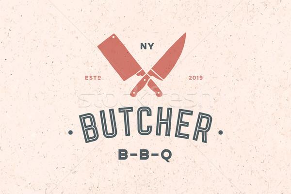 Etichetta carne shop emblema coltelli silhouette Foto d'archivio © FoxysGraphic