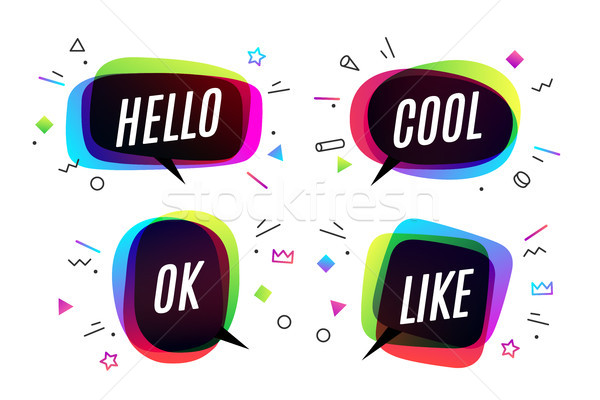 Ingesteld banner tekstballon poster sticker meetkundig Stockfoto © FoxysGraphic