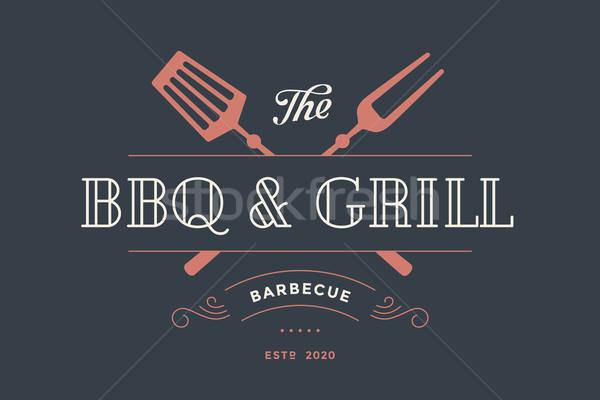 Címke sablon hús étterem grill villa Stock fotó © FoxysGraphic