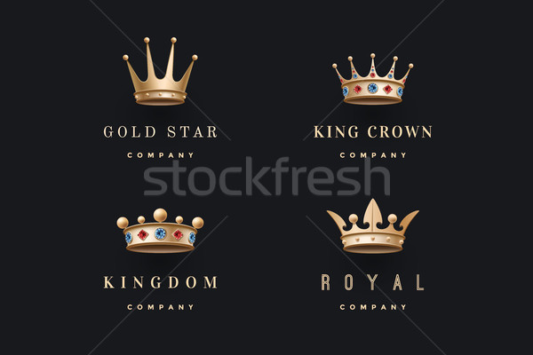 Stock photo: Set of royal gold crowns icons