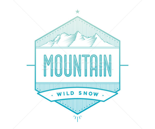 Logo badge for creative design project. Label related to mountain theme - blue mountain on a white b Stock photo © FoxysGraphic