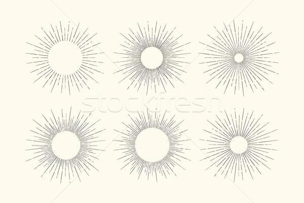Set of light rays, sunburst Stock photo © FoxysGraphic