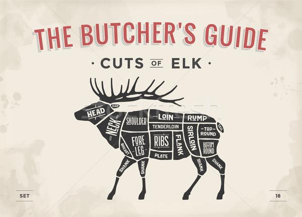 肉屋 図 カット 肉 セット ポスター ストックフォト © FoxysGraphic
