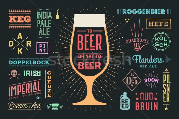 Poster bira değil afiş metin renkli Stok fotoğraf © FoxysGraphic