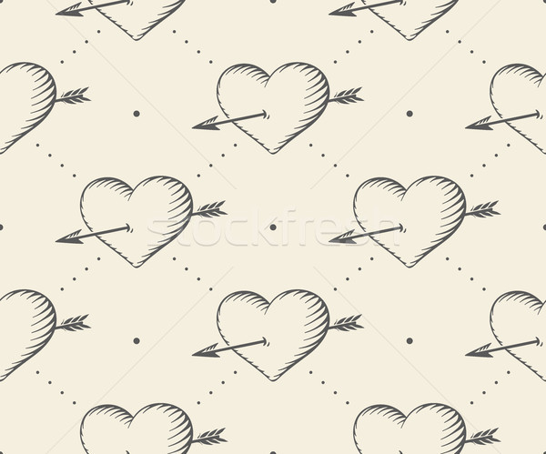 Seamless pattern with heart and arrow in vintage style engraving on a beige background for Valentine Stock photo © FoxysGraphic