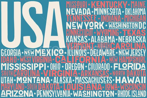 États-Unis Amérique pavillon affiche imprimer Photo stock © FoxysGraphic
