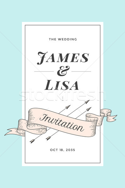 Vintage invitation de mariage mariage accueil post carte Photo stock © FoxysGraphic