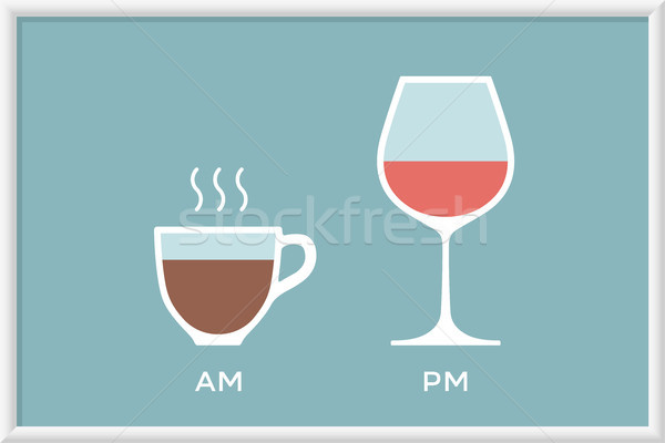 Cup coffee and glass wine in cafe with symbol defferent time Stock photo © FoxysGraphic