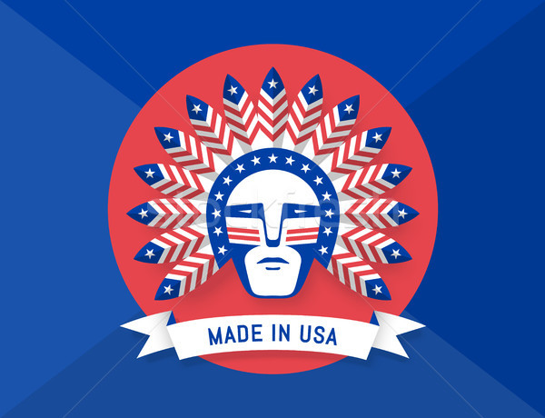 Stock photo: Icon of American man with Indian chief feathers on the head